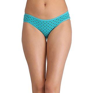 Clovia Cotton Bikini With Mid Waist Coverage - Green