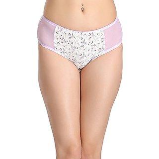 Clovia Cotton Mid Waist Floral Print Bikini With Powernet Side Wings