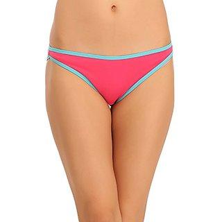 Clovia Cotton Mid Waist Bikini - Pink