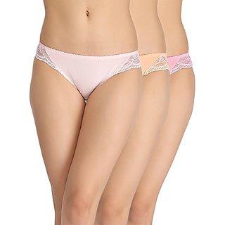 Clovia Set Of 3 Cotton Mid-Waist Bikini With Side Lace Panels - Multicolour