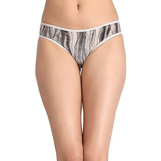 Clovia Cotton Low Waist Bikini - Beige