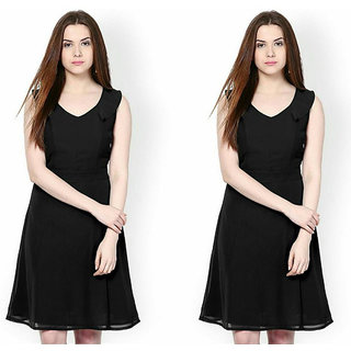 2e7588fe09e2 Buy Indicot Black A Line Women Party Wear One Piece Dress Pack of 2 ...