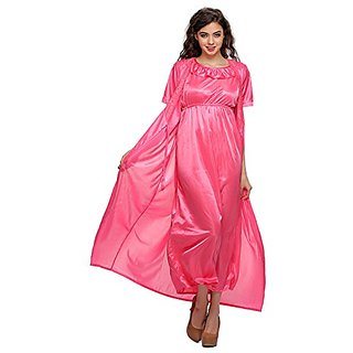 Clovia 2 Pcs Satin Nightwear Set In Pink- Long Robe  Amp  Nightie cdd748b26