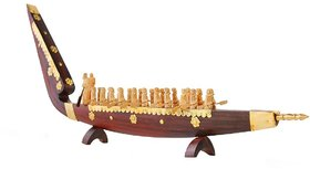 Kerala handicraft rose wood boat with rowers - 18 inch