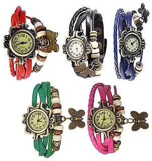 Combo of 5 Different Color Deal2dil Butterfly Vintage Watches For Women, Girl