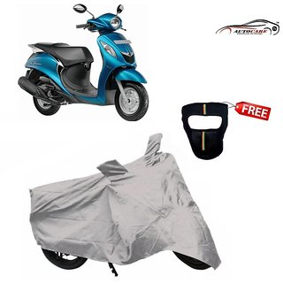 De AutoCare Premium Silver Matty Two Wheeler Scooty Body Cover For Yamaha Fascino With Freebie Face Mask