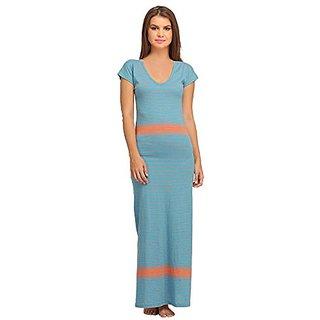 c3c6881657 Buy Clovia Cotton Long Skin Fit V-Neck Nighty - Blue Online @ ₹999 ...