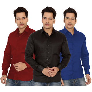 Trustedsnap Solid Casual Shirts For Men's Pack Of 3 (Black,Red,Blue)