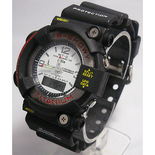 (GH-619) FIBER STRAP DUAL TIME SPORTS WATCH FOR MENS