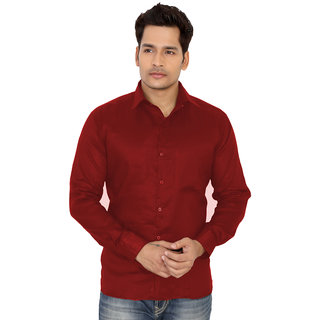 Trustedsnap Casual Solid Slim Fit Shirts For Men's (Red)