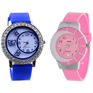 Shree Blue and Pink Dial Analog Watch for Women and Girls - Pack of 2
