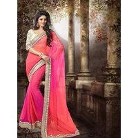 Roshni Fashions Orange  Pink Georgette Self Design Saree With Blouse