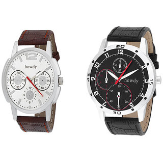 Howdy Combo of White & Black Analog Wrist Watch