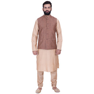 Kisah Cotton Silk Brown U0026 Beige Menu0027s Kurta, Jacket U0026 Churidar Set