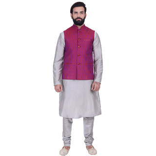Kisah Cotton Silk Magenta & Gray Men's Kurta, Jacket & Churidar Set