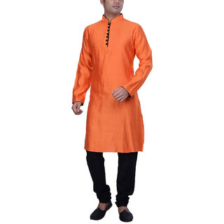 Kisah Men's Orange Color Front Open Jaquard Cotton Silk Long Kurta & Churidar Set