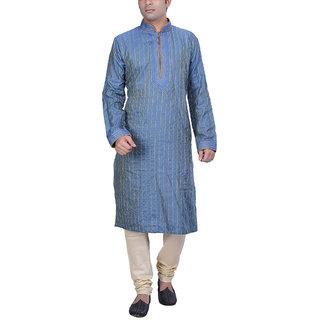 Kisah Blue Jaquard Cotton Silk Embroidered Kurta & Churidar Set for Men's