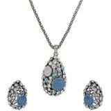 Blue And Silver Necklace & Earring Set With Zinc Alloy - TPNW13-205