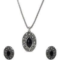 Black Necklace & Earring Set with Zinc Alloy - TPNW13-209