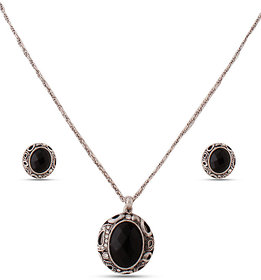 Black Necklace & Earring Set with Zinc Alloy - TPNW13-223