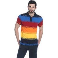 Basics Blue Striped Polo Neck Half Sleeve T-Shirt for Men