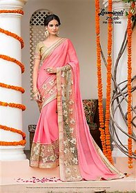 Nuteez Pink Chiffon Embroidered Saree With Blouse