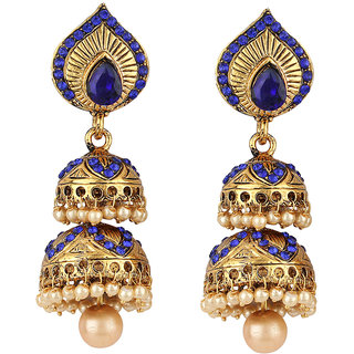 Angel In You Exclusive Golden White Blue Multi Colour Earrings. M-1253