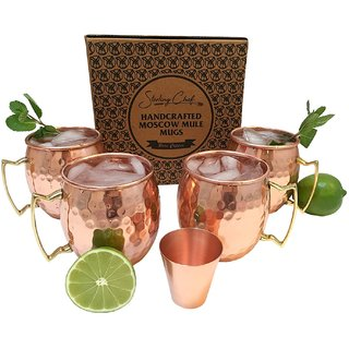 Sterling Chef Moscow Mule Mug Gift Set with Bonus Shot Glass and Recipe - Set of 4 Pure Copper Cups - 16 Ounces - Brass
