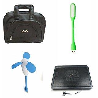 TechVik Combo Of 4 In 1 Laptop Bag ,Cooling pad, Usb Fan And Led Usb Light
