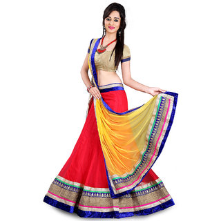 AIKA Red  Yellow Net Embroidered Semi Stitched Lehenga