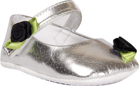 Silver shoes with Black Rose