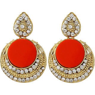 Angel In You Exclusive Golden White Red Multi Colour Earrings. M-1273