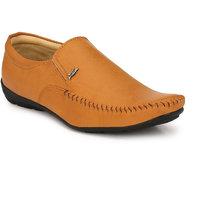 Lee Peeter Men's Tan Formal Slip On Shoes