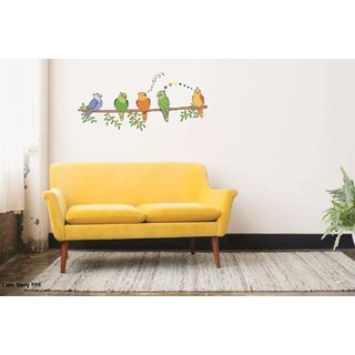Asmi Collections PVC Wall Stickers Beautiful Parrots on Tree Branches