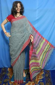 fashionista Multicolor Khadi Checks Saree With Blouse