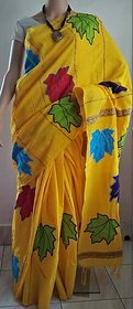 fashionista Yellow Cotton Printed Saree With Blouse