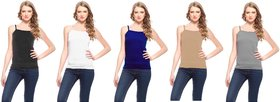 Akaas Multicolor Plain Cotton Blend Camisole (Pack of 5)