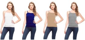 Akaas Multicolor Plain Cotton Blend Camisole (Pack of 4)