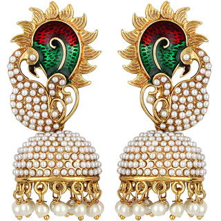 Angel In You Exclusive Golden white Green Maroon Multi Colour Earrings. M-1307