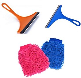 Combo of 2 Mini Glass Wiper and 2 Microfiber Gloves