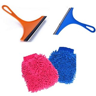 Combo of 2 Mini Glass Wiper and 2 Microfiber Gloves