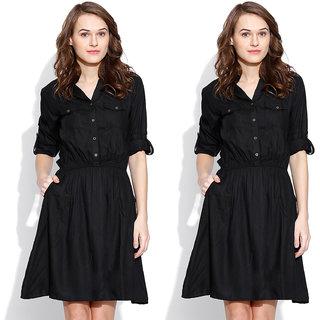 3fde639571c6 Buy Indicot Black Women Party Wear One Piece Dress Combo of 2 Online ...