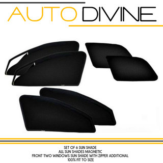 Mahindra TUV 300, Car Accessories Side Window Zipper Magnetic Sun Shade, Set of 6 Curtains.