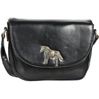 Black PU Sling Bag