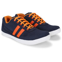 POISE Navy Blue  Orange Casual Solid Laced Shoe For Men