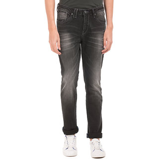 Flying Machine Black Mid Rise Slim Fit Jeans For Men