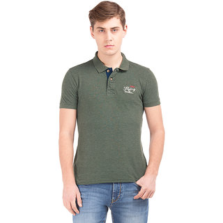 Flying Machine Green Half Sleeve Polo Neck T-shirt For Men