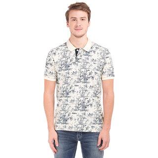 Flying Machine White Half Sleeve Polo Neck T-shirt For Men