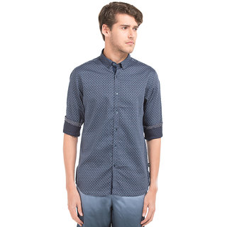 Flying Machine Blue Full sleeves Regular Fit Casual Shirt For Men