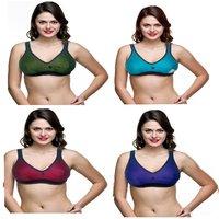 Women Multicolor Hosiery Sports Bra pack of 4